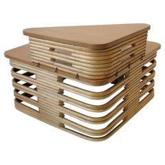Tochiku Paul Frankl Style Stacked Bamboo Square Table with Removable Top Tier
