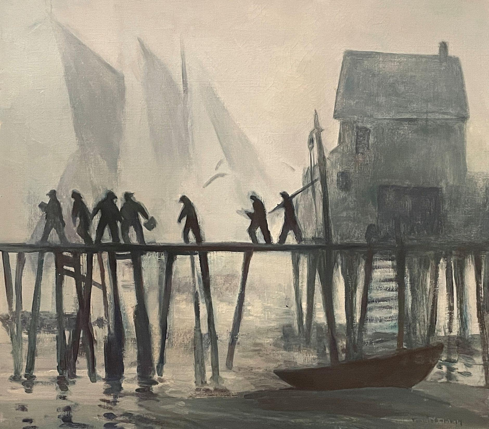 """""""Thick Outside,"""" Tod Lindemuth, Provincetown Fishermen at Docks with Boat"""