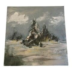 Oil On Panel Snowy Trees