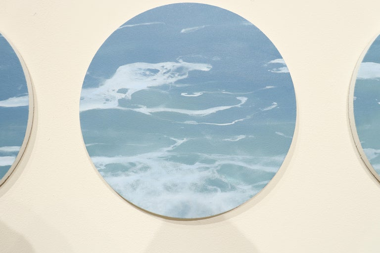 OCEAN SERIES 8, photo-realism, circular frame, waterscape, wave, coastline, blue - Painting by Todd Kenyon