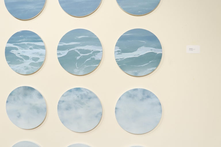 OCEAN SERIES 8, photo-realism, circular frame, waterscape, wave, coastline, blue - Contemporary Painting by Todd Kenyon