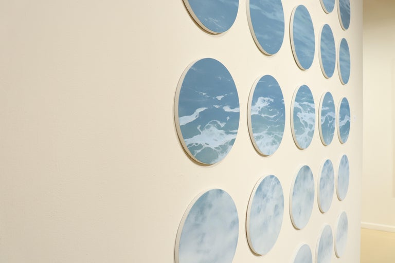 OCEAN SERIES 8, photo-realism, circular frame, waterscape, wave, coastline, blue - Gray Landscape Painting by Todd Kenyon