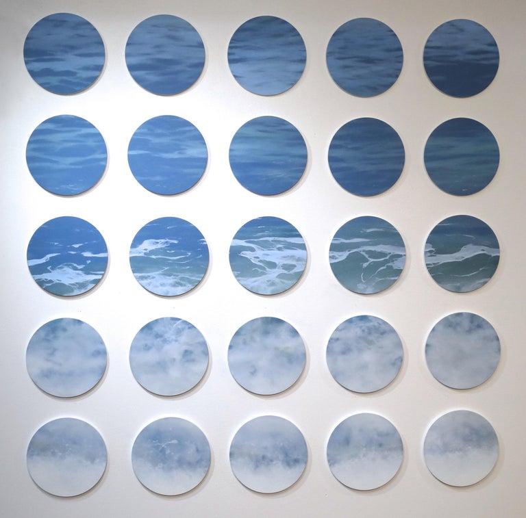 Todd Kenyon Landscape Painting - OCEAN SERIES 8, photo-realism, circular frame, waterscape, wave, coastline, blue