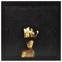"""Todd Murphy Untitled Mixed Media Painting American Artist """"Man With Candles"""""""