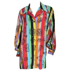 Todd Oldham New Abstract Pattern Striped Silk Shirt 1980s