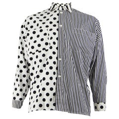 Todd Oldham Vintage Monochrome Polka Dot & Striped Patchwork Shirt