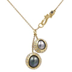 Todd Reed 2.56 Carat Diamond Wrapped Tahitian Pearl Double Gold Drop Necklace