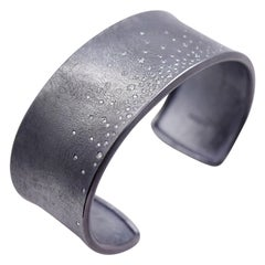 Todd Reed designed Flush Set Diamond Cuff Bracelet in Oxidized Sterling Silver