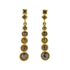 Todd Reed Gold Rough Diamond Drop Earrings