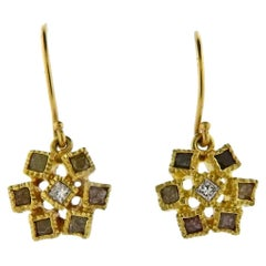 Todd Reed Gold Rough Diamond Drop Earrings
