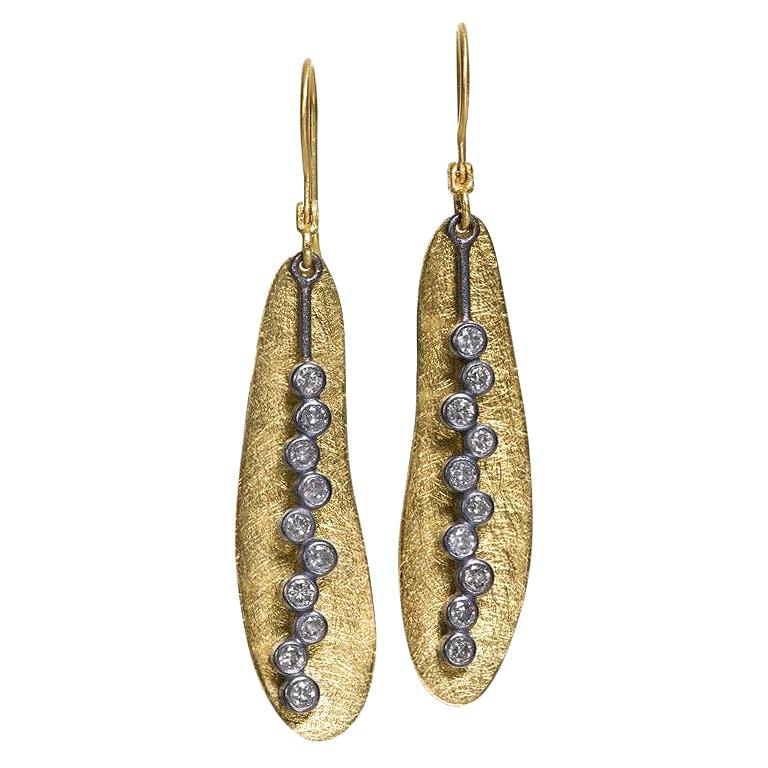 Todd Reed Shimmering Silver Diamond Gold Oxidized Silver Bubble Drop Earrings