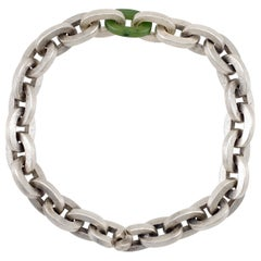 Todd Reed Sterling Silver Link Men's Bracelet with Green Jade