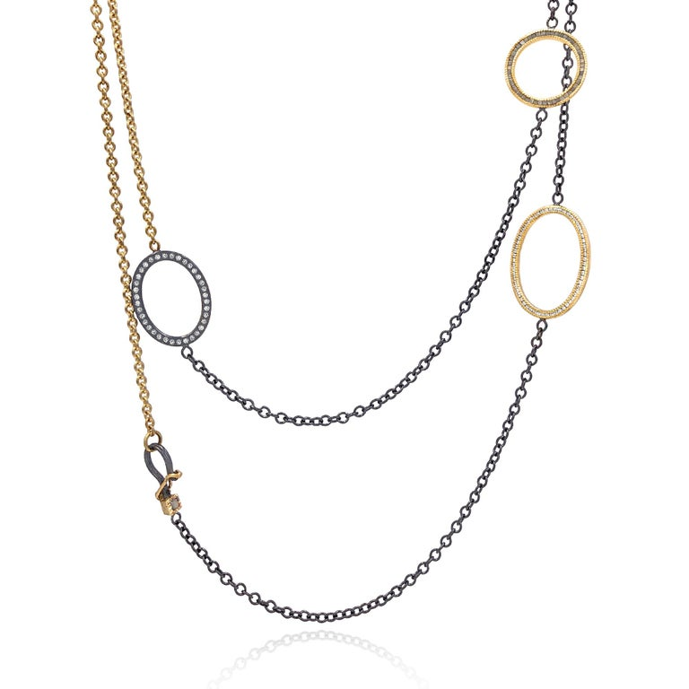 Round Cut Todd Reed White and Raw Diamond Gold Silver Triple Open Link Necklace For Sale