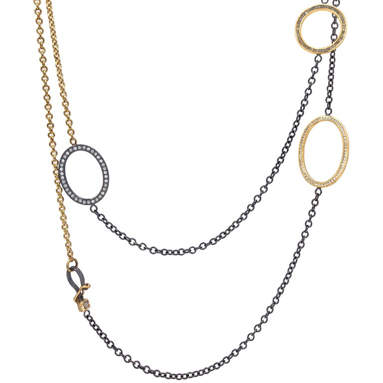 Todd Reed White and Raw Diamond Gold Silver Triple Open Link Necklace For Sale