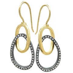 Todd Reed White Diamond Gold Silver Double Oval Link Dangle Earrings