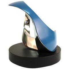 Todd Reuben Modern Abstract Metal Sculpture in Blue
