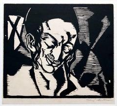 Hasidic Student Palestine 30s Judaica Woodblock Woodcut Print Chicago WPA Artist