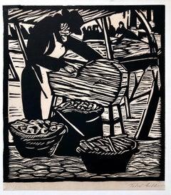 Jewish Market Peddler Judaica Woodblock Woodcut  Print Chicago 1930s WPA Artist