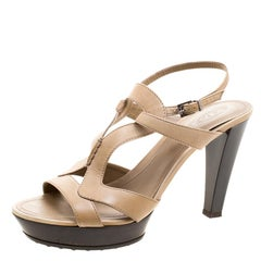 Tod's Beige Leather Cut Out Sandals Size 39.5