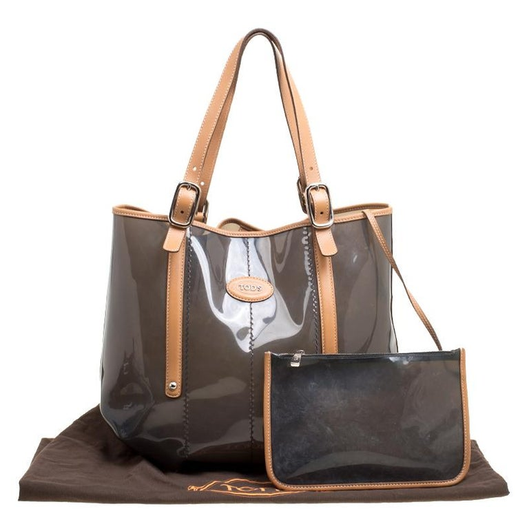 Tod's Black/Brown PVC and Leather Tote For Sale 6