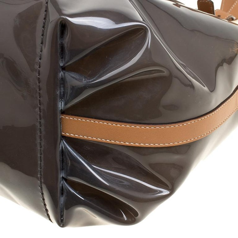 Tod's Black/Brown PVC and Leather Tote For Sale 5