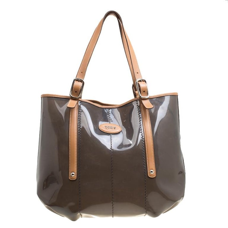 Tod's Black/Brown PVC and Leather Tote For Sale