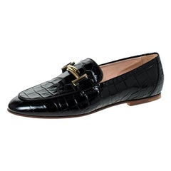 Tod's Black Croc Embossed Leather Double T Flat Loafers Size 38.5