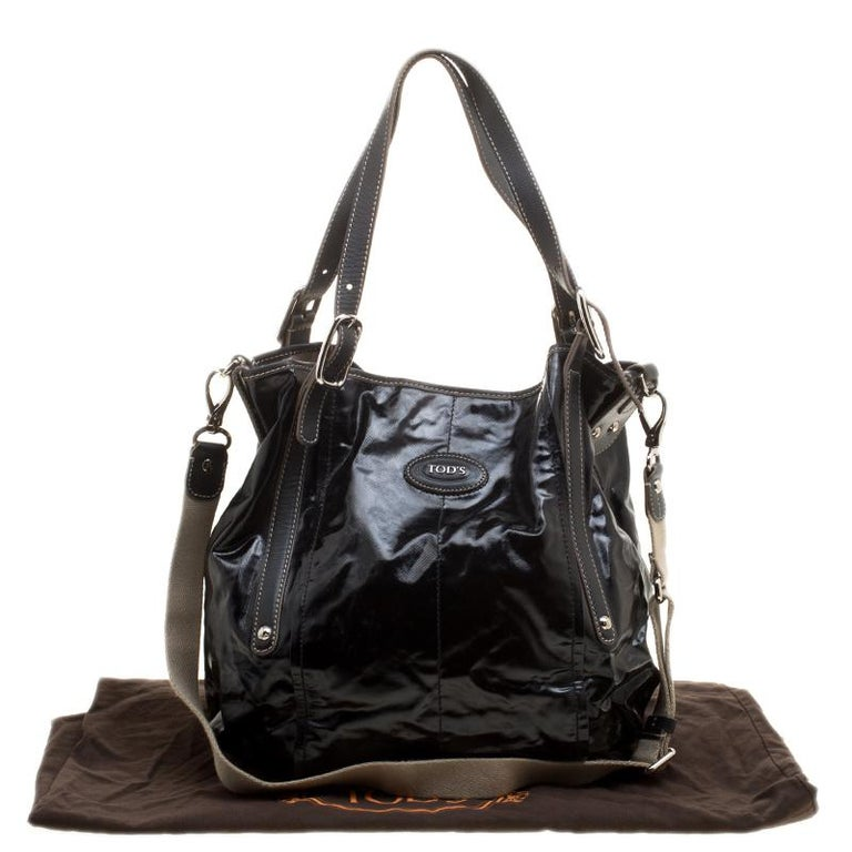 a8407687d2 Tod's Black Glazed Coated Canvas G-Line Easy Sacca Tote For Sale at ...