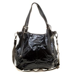 Tod's Black Glazed Coated Canvas G-Line Easy Sacca Tote