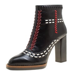 Tod's Black Leather Gipsy Cross Stitch Detail Block Heel Ankle Boots Size 38.5