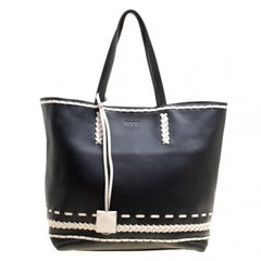 Tod's Black Leather Gipsy Shopper Tote