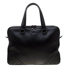 Tod's Black Leather Gommini Briefcase