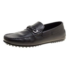 Tod's Black Leather Gommino Loafers Size 39.5
