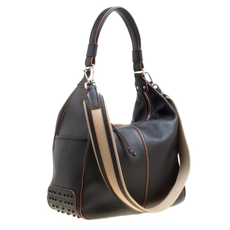 f22719299d Tod's Black Leather Medium Miky Top Handle Shoulder Bag In New Condition  For Sale In Dubai