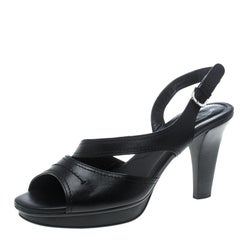 ec5d8ffe7f Tod's Black Patent Leather Slingback Platform Sandals Size 39 For ...