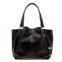 Tod's Black Leather Shopping Zip Tote