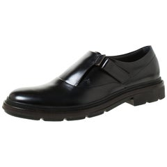 Tod's Black Leather Velcro Fastening Concealed Loafers Size 44