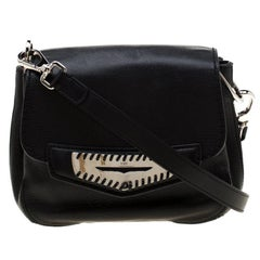 Tod's Black Leather Whipstitched Mask Crossbody Bag