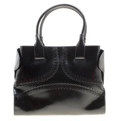 Tod's Black Patent Leather Small Cape Tote