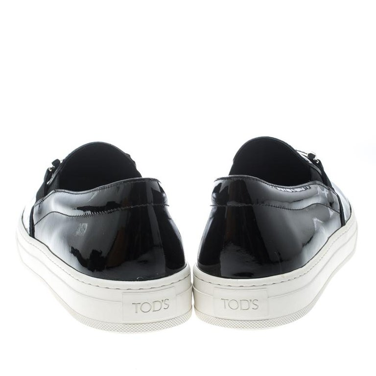 Tod's Black Patent Leather Sportivo Maxi Crystal Double T Slip On Sneakers Size  In New Condition For Sale In Dubai, AE