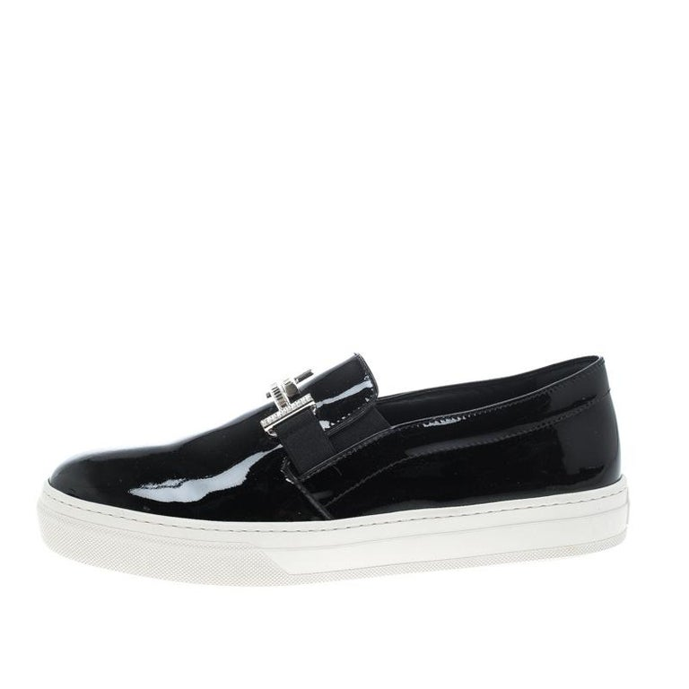 Women's Tod's Black Patent Leather Sportivo Maxi Crystal Double T Slip On Sneakers Size  For Sale