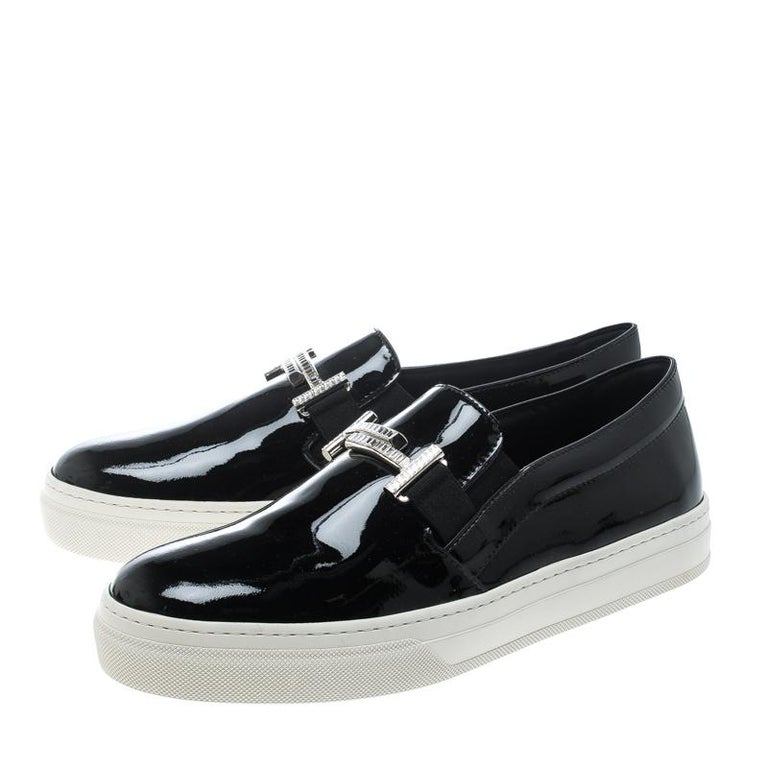 Tod's Black Patent Leather Sportivo Maxi Crystal Double T Slip On Sneakers Size  For Sale 1