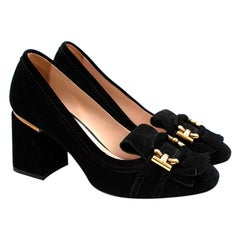 Tod's Black Suede Mid Heel Loafer Style Court Shoes - Size 37