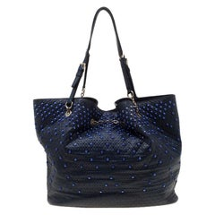 Tod's Blue Leather Embossed Studded Drawstring Tote
