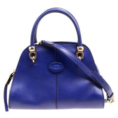 Tod's Blue Leather Small Sella Bowling Bag