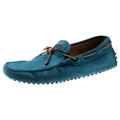 Tod's Blue Suede Braided Bow Loafers Size 41.5