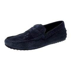Tod's Blue Suede Penny Loafers Size 38.5