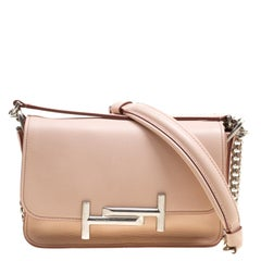 Tod's Blush Pink Leather Mini Double T Shoulder Bag