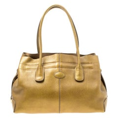 Tod's Bronze Leather large D Bag Media Tote