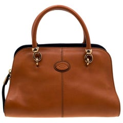 Tod's Brown/Blue Leather Sella Bowler Bag